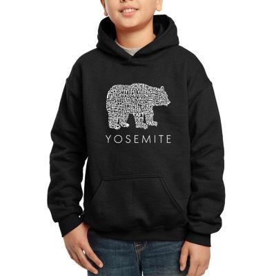 Los Angeles Pop Art Boy's Word Art Hooded Sweatshirt - Yosemite Bear