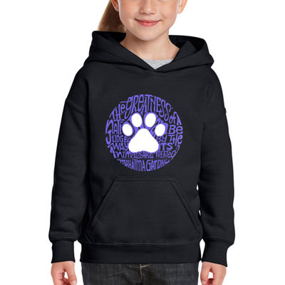 Los Angeles Pop Art Girl's Word Art Hooded Sweatshirt - Gandhi's Quote on Animal Treatment