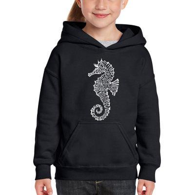 Los Angeles Pop Art Girl's Word Art Hooded Sweatshirt - Types of Seahorse