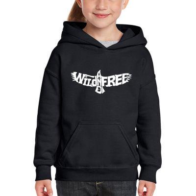 Los Angeles Pop Art Girl's Word Art Hooded Sweatshirt - Wild and Free Eagle