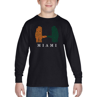 Los Angeles Pop Art Boy's Word Art Long Sleeve - Miami Hurricanes Hand Symbol