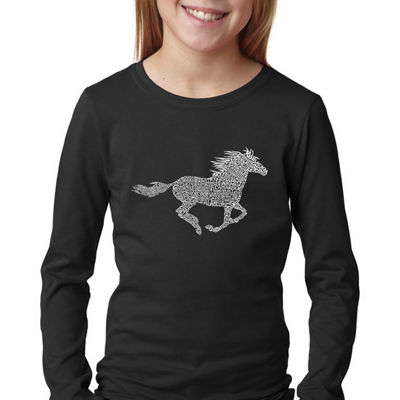 Los Angeles Pop Art Girl's Word Art Long Sleeve -Horse Breeds