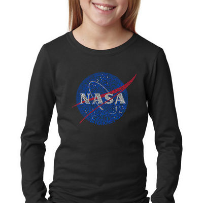 Los Angeles Pop Art Girl's Word Art Long Sleeve -NASA's Most Notable Missions