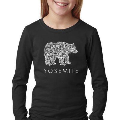 Los Angeles Pop Art Girl's Word Art Long Sleeve -Yosemite Bear