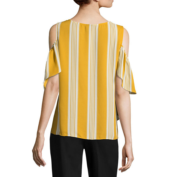 Worthington Flounce Cold Shoulder Top - Tall