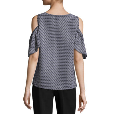 Worthington Short Sleeve Crew Neck Georgette Blouse-Tall