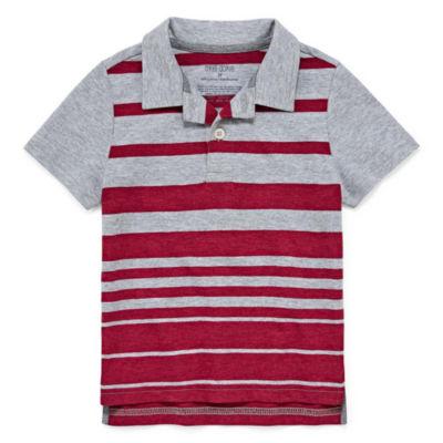 Okie Dokie Short Sleeve Stripe Jersey Polo Shirt - Toddler Boys