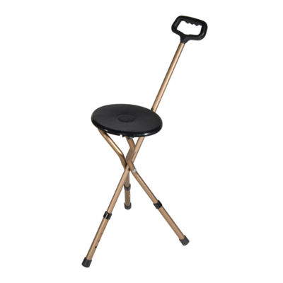 Folding Lightweight Cane Seat, Adjustable Height