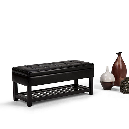 Cosmopolitan Entryway Storage Ottoman Bench With Open Bottom