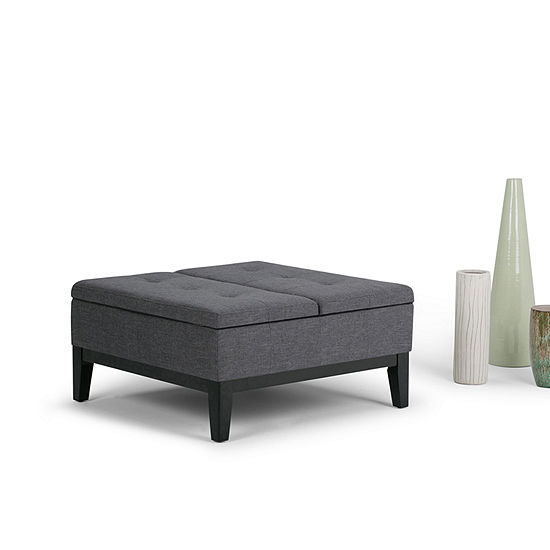 Dover Square Coffee Table Ottoman With Split LiftUp Lid