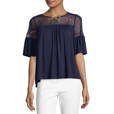 Liz Claiborne Elbow Sleeve Round Neck Jersey Embroidered Blouse