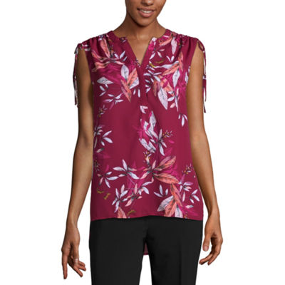 Worthington Womens Split Crew Neck Sleeveless Blouse
