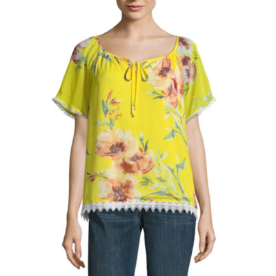 Alyx Short Sleeve Square Neck Woven Blouse
