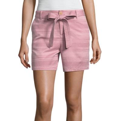 """Liz Claiborne Tie Front Textured 5"""" Chino Shorts"""