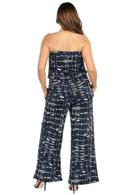 24Seven Comfort Apparel Bryce Black and White Strapless Jumpsuit - Plus