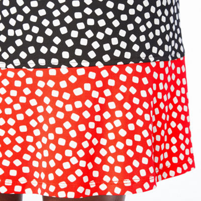 Ronni Nicole Short Sleeve Dots A-Line Dress-Petite
