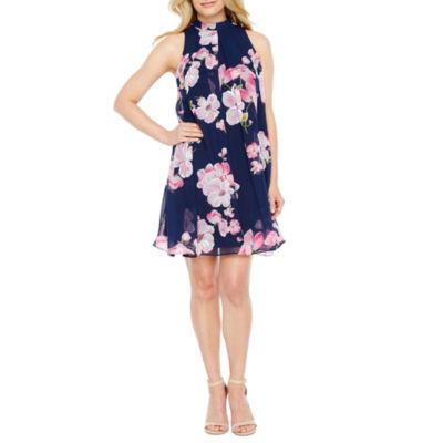 Robbie Bee Sleeveless Floral A-Line Dress-Petites