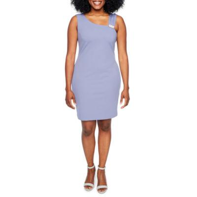 Scarlett Sleeveless Applique Shift Dress-Petite