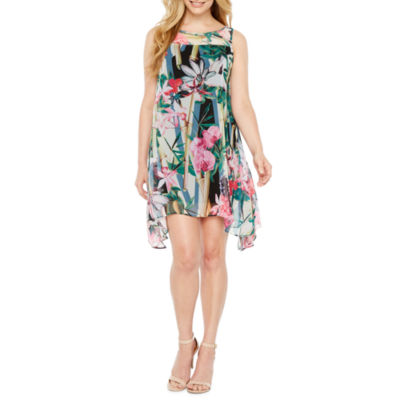 Robbie Bee Sleeveless Floral A-Line Dress-Petites