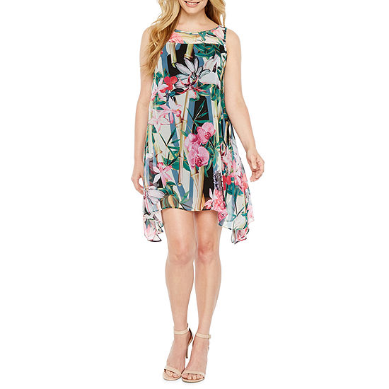 Robbie Bee Sleeveless Floral A Line Dress Petite