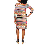London Times-Petite 3/4 Sleeve Midi Striped Shift Dress