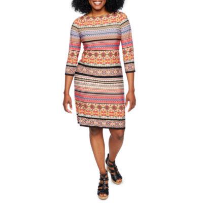 London Times 3/4 Sleeve Stripe Shift Dress-Petite