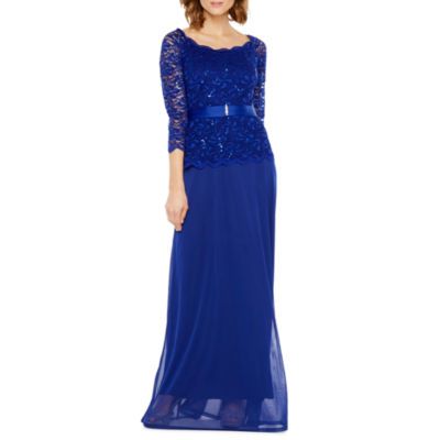 Blu Sage 3/4 Sleeve Belted Evening Gown