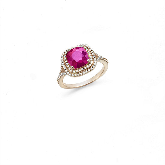 Effy Final Call Lead Glass-Filled Ruby & 3/8 CT. T.W. Diamond 14K Rose Gold Cocktail Ring