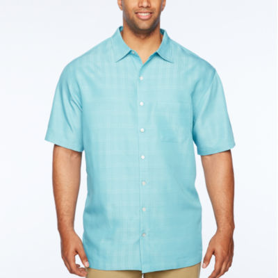 Van Heusen Poly Rayon Short Sleeve Checked Button-Front Shirt-Big and Tall
