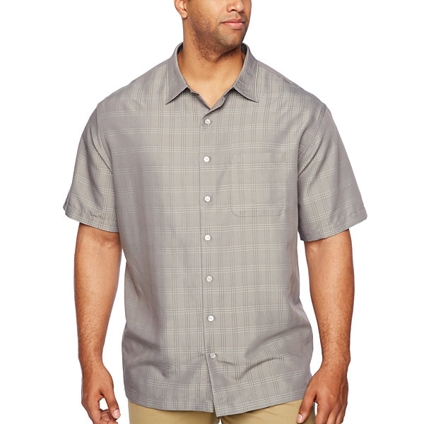 Van Heusen Poly Rayon Button Down Short Sleeve Checked Button-Front Shirt-Big and Tall