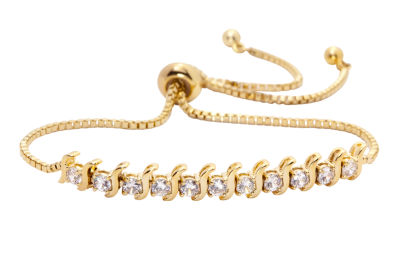 Sparkle Allure Cubic Zirconia 3 CT. T.W. Clear Gold Tone 14K Gold Over Brass Bolo Bracelet