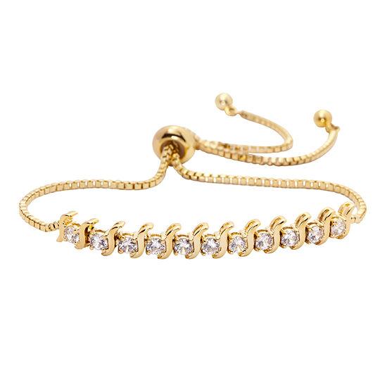 Sparkle Allure Cubic Zirconia 3 Ct Tw Clear Gold Tone 14k Gold Over Brass Bolo Bracelet