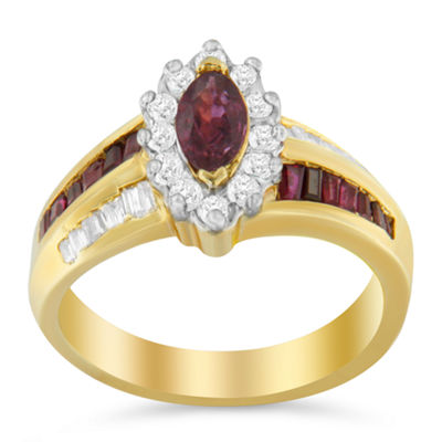 Womens 7/8 CT. T.W. Red Ruby 10K Gold Cocktail Ring