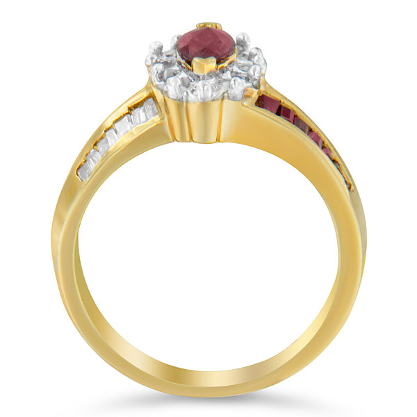Womens 7/8 CT. T.W. Lab Created Red Ruby 10K Gold Cocktail Ring