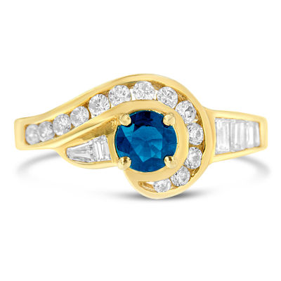 Womens 1 1/4 CT. T.W. Color Enhanced Blue Sapphire 10K Gold Cocktail Ring