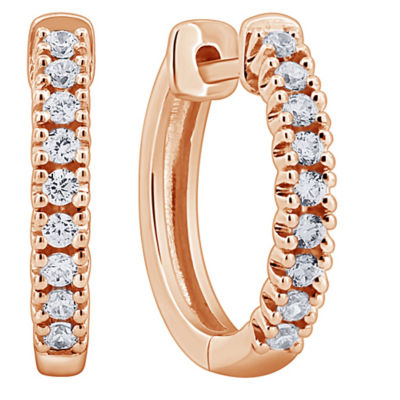 1/4 CT. T.W. Genuine White Diamond 14K Rose Gold 14mm Hoop Earrings