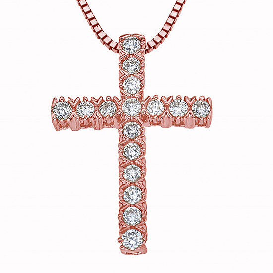 Womens 1/4 CT. T.W. Genuine Diamond 10K Rose Gold Cross Pendant Necklace