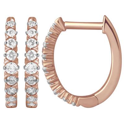 1/4 CT. T.W. Genuine White Diamond 10K Rose Gold 13.4mm Hoop Earrings