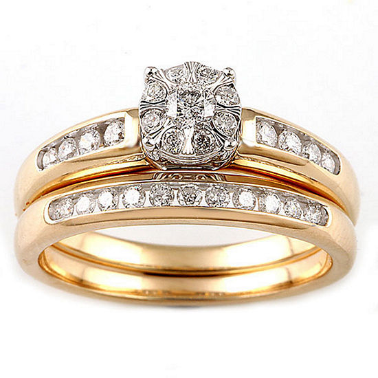Womens 1 2 Ct Tw Genuine White Diamond 10k Two Tone Gold Engagement Ring
