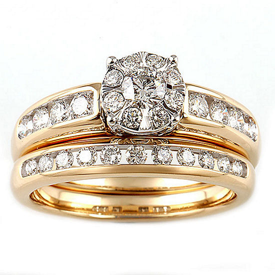 Womens 1 CT. T.W. Genuine White Diamond 10K Two Tone Gold Engagement Ring