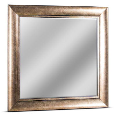 Hartley Medium Square Champagne Accent Framed Beveled Wall Vanity Mirror