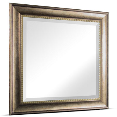 Leighton Medium Square Wood Grain Textured Accent Framed Beveled Wall Vanity Mirror