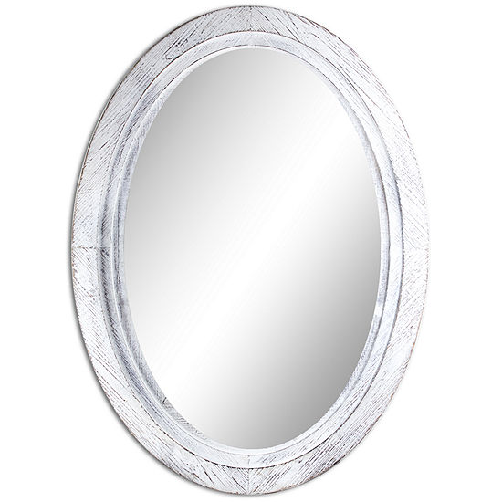Large Oval Tiered Antiqued White Wooden Framed Wall Mirror