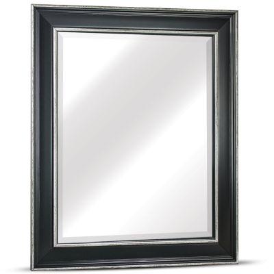 """Camden Medium Rectangular Antiqued White Accents Framed Beveled Wall/Vanity Mirror"
