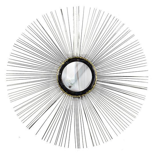Sunburst Starburst Metal Wire Round Framed Wall Mirror