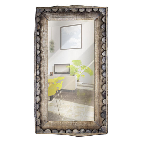 Large Rectangular Decorative Wall Mirror with Scalloped Wooden Frame Country Farmhouse Décor