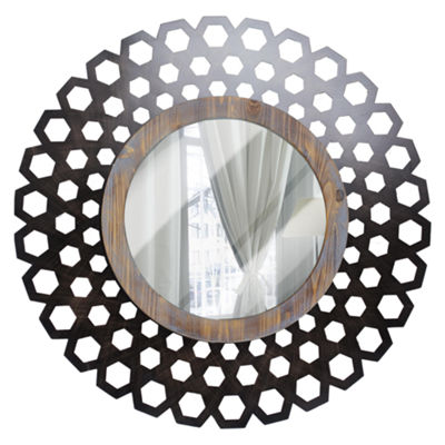 Large Round Geometric Wood and Metal Framed Mirror Accent Wall Décor