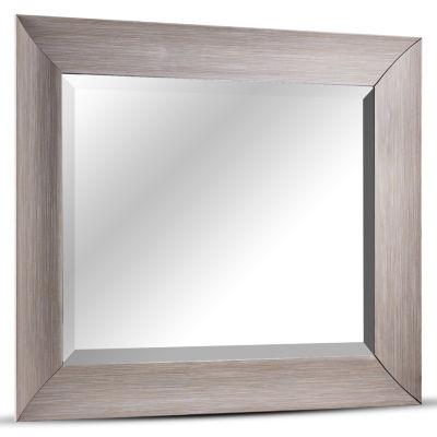 Leighton Medium Rectangular Driftwood Framed Beveled Wall Mirror