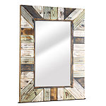 Large Rectangular Striped Rustic Distressed Wood Framed Wall Mirror