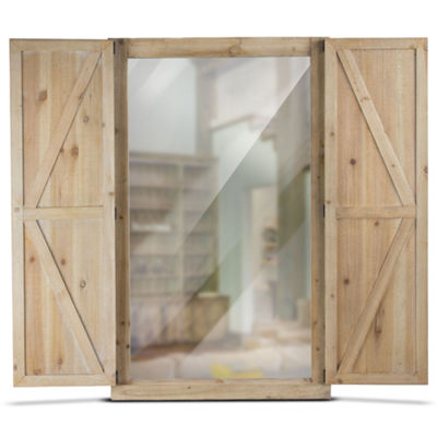 Shuttered Rectangular Wall Mirror with Rustic Wooden Frame Farmhouse Décor